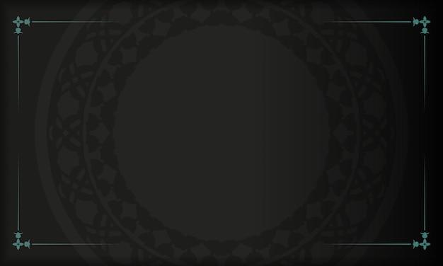Diseño de postal de vector con patrones abstractos. estandarte negro con adornos azules griegos para tu logo