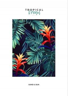 Diseño de postal vertical floral con flores de guzmania, monstera y hojas de palma real. fondo exótico hawaiano.