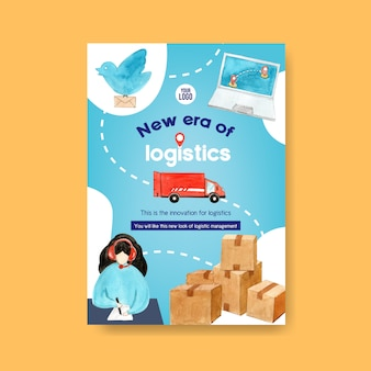 Diseño de póster con acuarela de mujer, ilustración de coche.