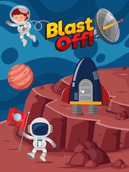 Diseño de póster con astronautas volando en el espacio