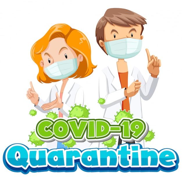 Diseño de póster de coronavirus con dos doctores