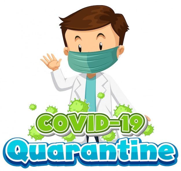 Diseño de póster de coronavirus con médico con máscara