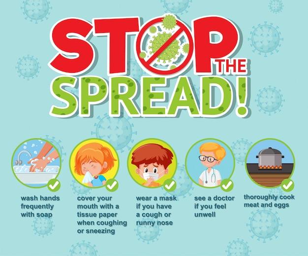 Diseño de póster de coronavirus con la palabra detener la propagación