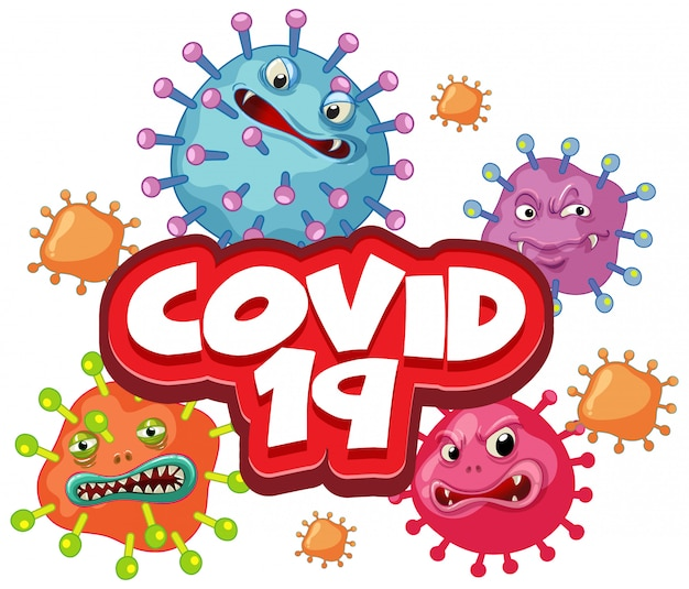 Diseño de póster de coronavirus con palabras y células de virus