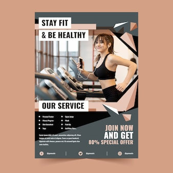 Diseño de póster deportivo para mantenerse en forma