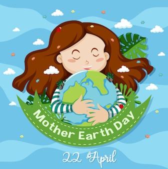 Diseño de póster para el día de la madre tierra con tarjeta de ilustración de niña feliz