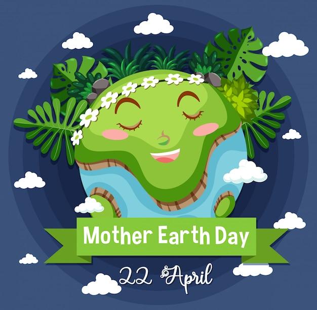 Diseño de póster para el día de la madre tierra con tierra feliz