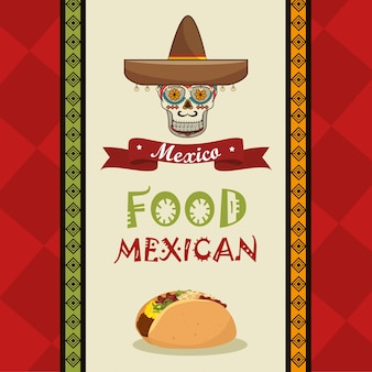 Diseño de poster food and skull mexican
