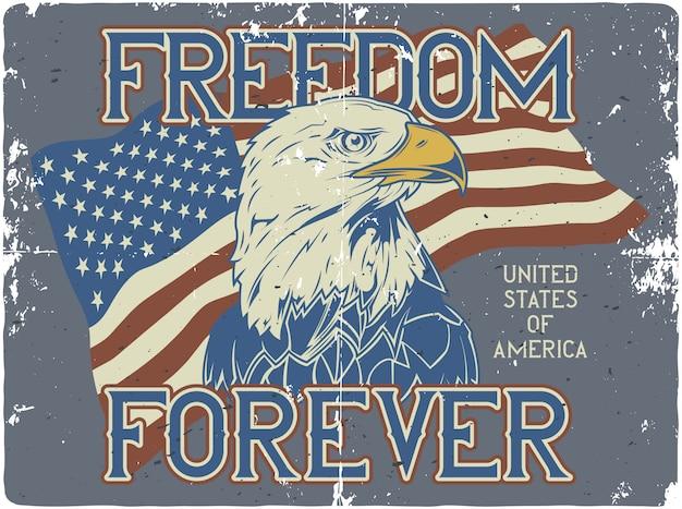 Diseño de póster con ilustración de bandera de ee. uu. y cabeza de águila