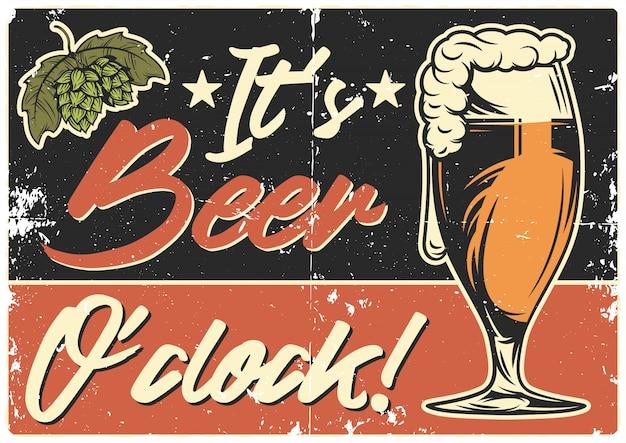 Diseño de póster con ilustración de jarra de cerveza