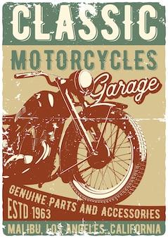 Diseño de póster con ilustración de motocicleta