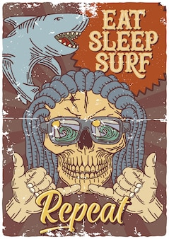Diseño de póster con ilustración de tiburón, cráneo y gesto de la mano