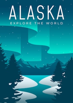 Diseño de póster itinerante de alaska ilustrado