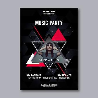 Diseño de póster de música abstracta con foto