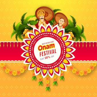 Diseño de póster o plantilla de onam festival sale con oferta de 50% de descuento