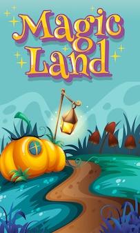 Diseño de póster con la palabra tierra mágica y jardín en segundo plano.