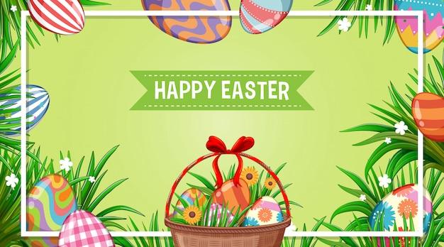 Diseño de póster para pascua con huevos decorados en el jardín