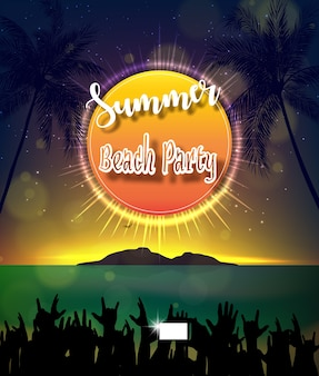 Diseño de póster de summer beach party