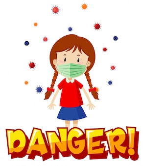Diseño de póster para el tema del coronavirus con máscara con niña