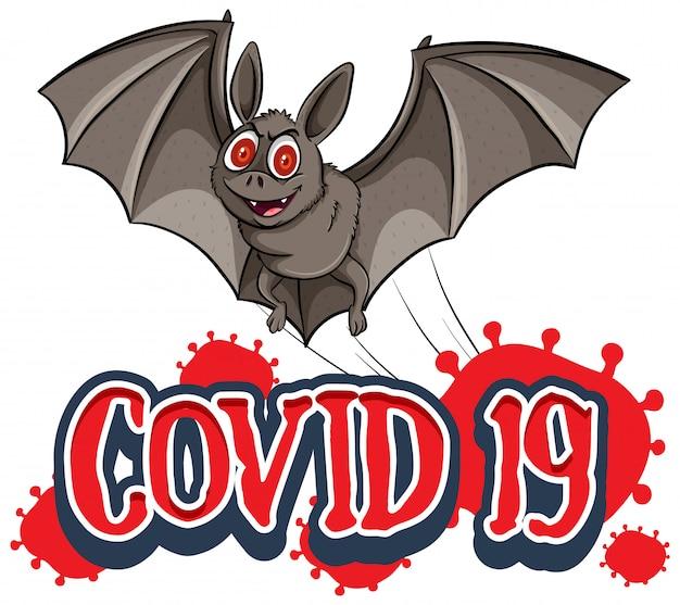 Diseño de póster para el tema de coronavirus con murciélago salvaje
