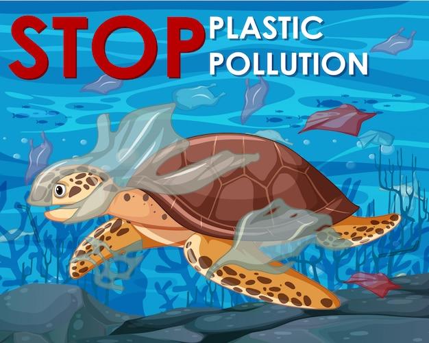 Diseño de póster con tortuga marina en el océano