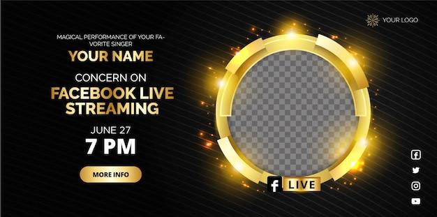 Diseño de póster de transmisión en vivo de facebook en color dorado.