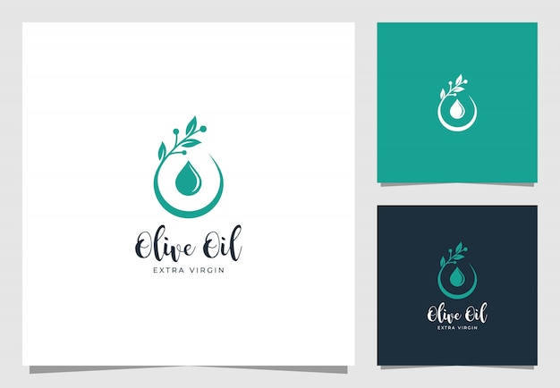 Diseño premium de logo de gota de aceite de oliva
