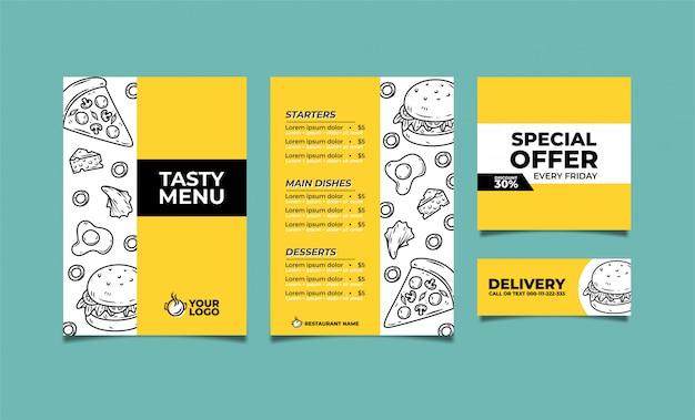 Diseño premium de plantilla de menú cullinary