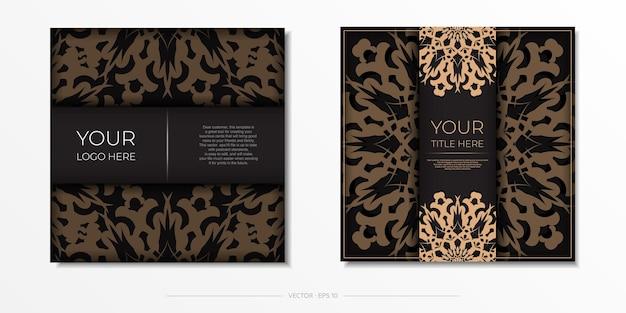 Diseño presentable de una postal en color negro con adorno árabe. tarjeta de invitación de vector