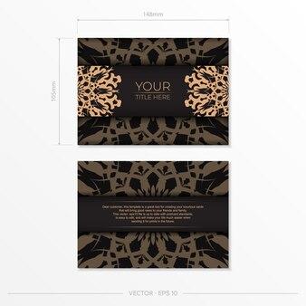 Diseño presentable de una postal en color negro con motivos árabes. tarjeta de invitación de vector con adornos vintage.