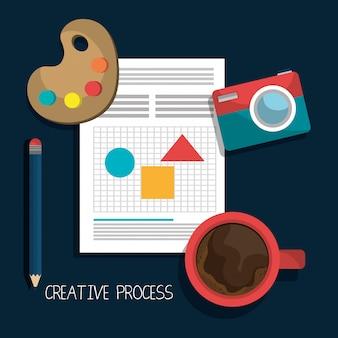 Diseño de procesos creativos con iconos de colores.