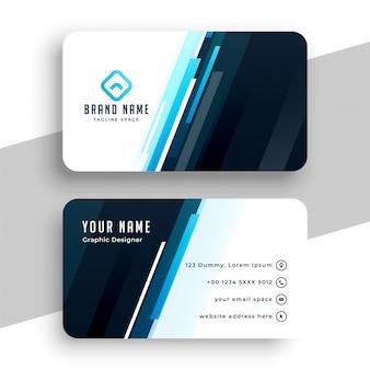 Diseño profesional de tarjeta de visita de líneas azules con estilo