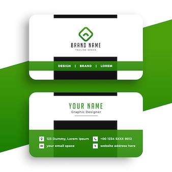 Diseño profesional de tarjeta de visita verde.