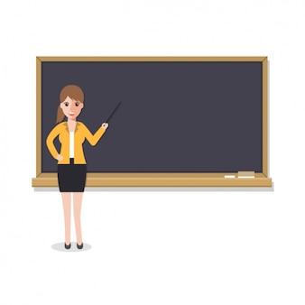 Diseño de profesora con una pizarra