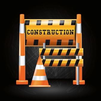 Diseño de progreso de construcción con barreras y cono de tráfico