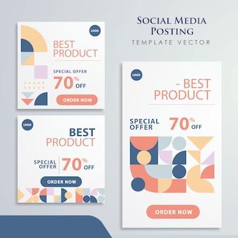 Diseño de promoción de medios sociales de elementos retro