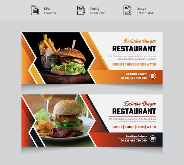 Diseño de publicación de banner de portada de facebook de comida