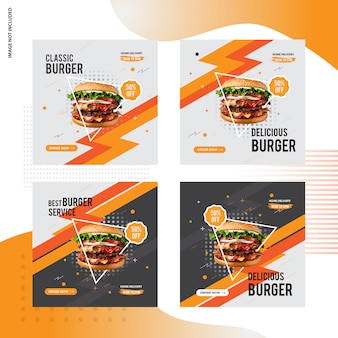 Diseño de publicación social de venta de hamburguesas