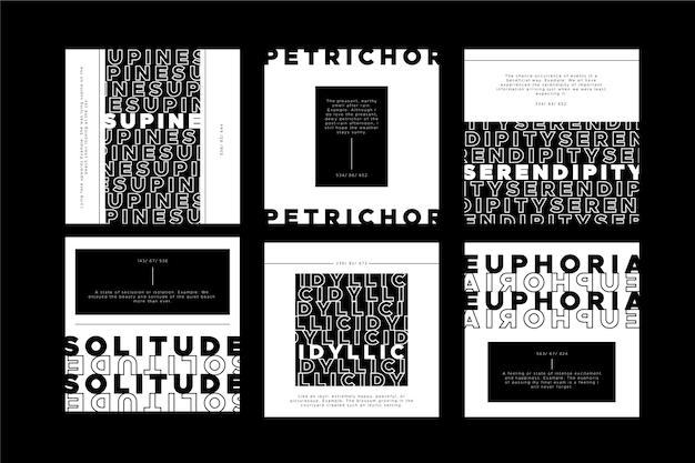 Diseño de publicaciones de instagram en blanco y negro