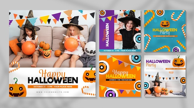 Diseño de publicaciones de instagram del festival de halloween