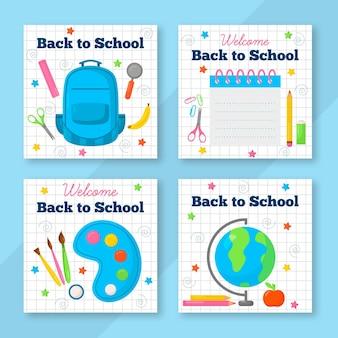 Diseño de publicaciones de instagram de regreso a la escuela