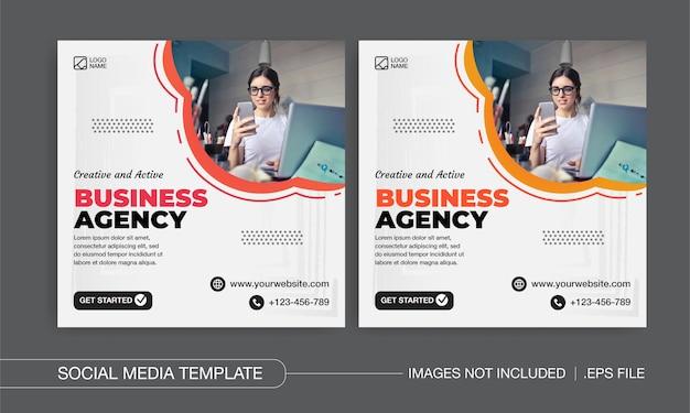 Diseño de publicaciones en redes sociales de agencias de negocios creativas y activas.