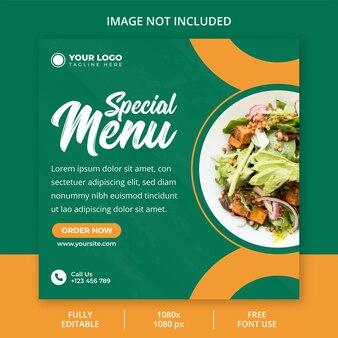 Diseño de publicaciones de redes sociales de menú especial