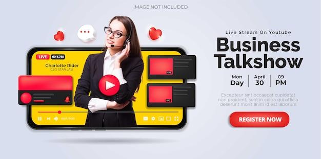 Diseño de publicaciones en redes sociales sobre la transmisión en vivo de youtube