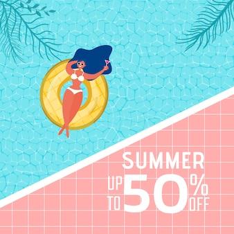 Diseño de publicidad fiesta de piscina de verano con la chica en el anillo de goma.