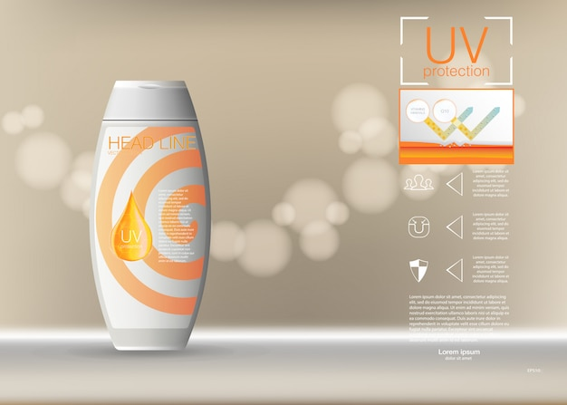 Diseño de publicidad de productos cosméticos. ilustración plantilla de anuncios de bloqueador solar, diseño de productos cosméticos de protección solar con crema o líquido, fondo.