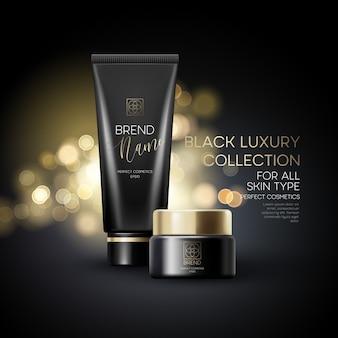 Diseño de publicidad de productos cosméticos sobre fondo negro.