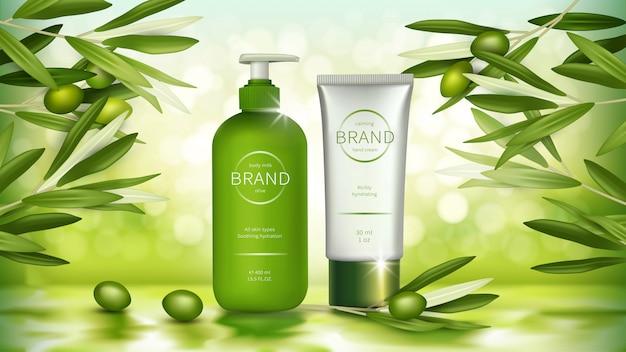Diseño publicitario de cosméticos de oliva ecológica