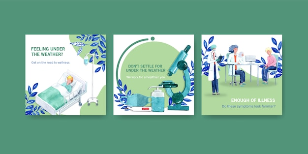 Diseño publicitario o de folletos con información sobre la enfermedad y el cuidado de la salud.