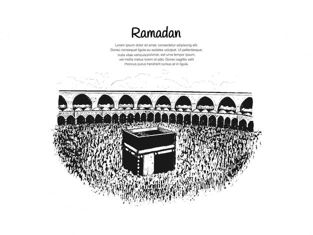 Diseño de ramadán con kaaba.